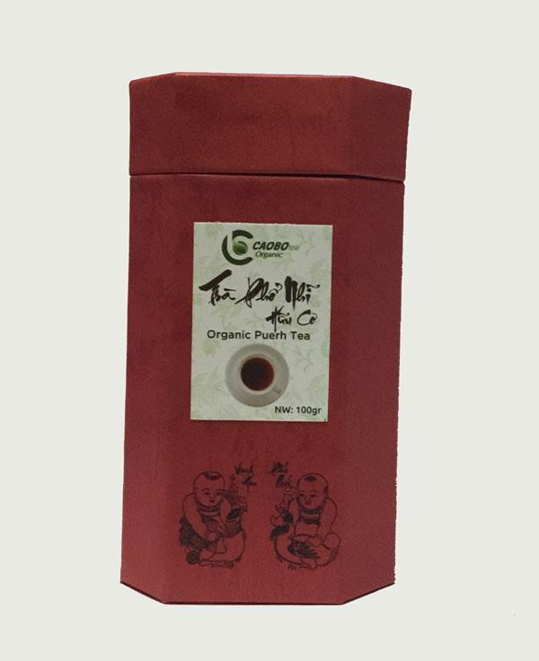Hộp trà Phổ Nhĩ hữu cơ bát giác đỏ 100g - Cao Bo Organic Tea