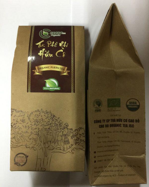 Trà Phổ Nhĩ hữu cơ túi giấy 100g - Cao Bo Organic Tea