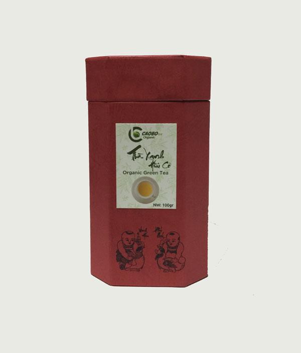 Hộp trà xanh hữu cơ bát giác đỏ 100g - Cao Bo Organic Tea